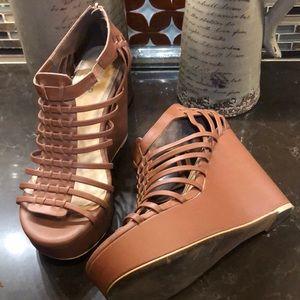 Torrid tan wedge gladiator wide width heels 11W